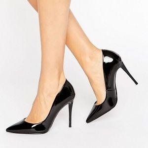 NEW Aldo Black Patent Point Toe Heels Sz 36 / 6